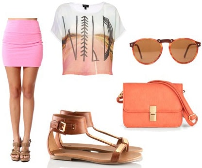 How to wear a pink mini skirt with a fun tee shirt, basic brown sandals, a coral cross-body bag and sunglasses