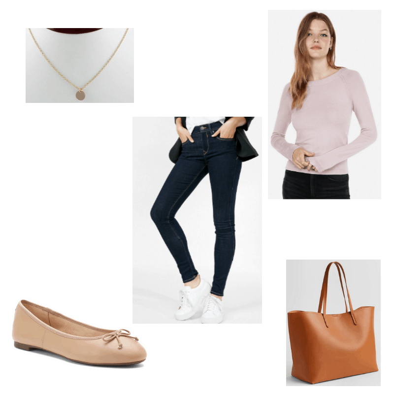 Outfit with pale pink sweater, jeggings, ballet flats, gold disc necklace, and cognac tote bag