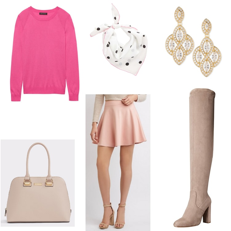 Pink sweater outfit with cute pink skirt, polka dot scarf, statement earrings, blush over-the-knee boots and beige handbag