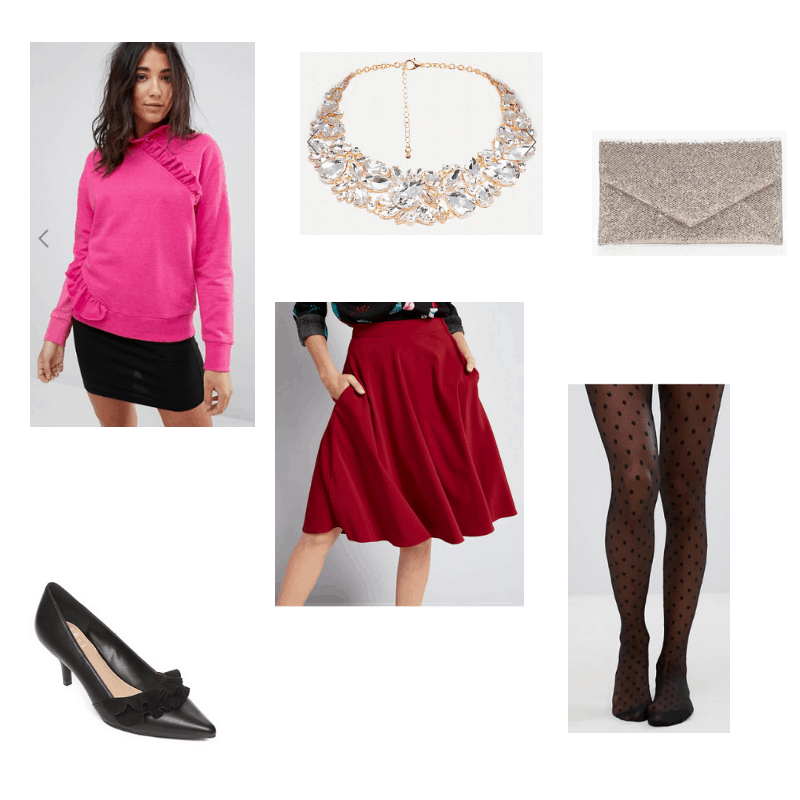 Outfit with pink ruffle sweater, red skirt, ruffle kitten heels, sparkly statement necklace, polka dot tights, and sparkly envelope clutch