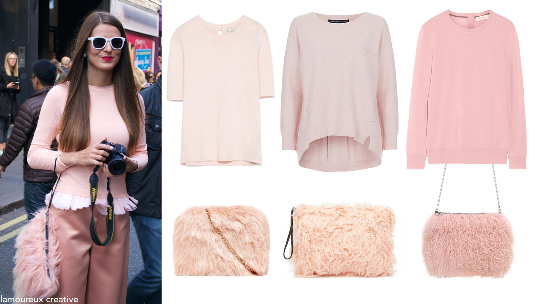 Blush pink sweaters and furry bags