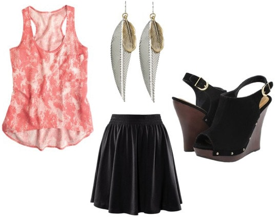 Outfit idea: How to wear a pink tank with a black skirt and wedges