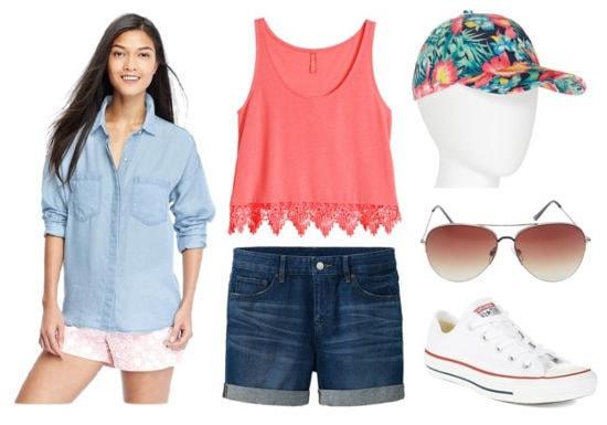 denim shorts, pink tank, Converse