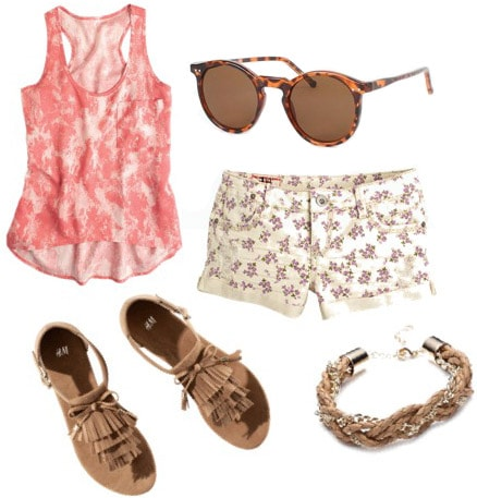 Outfit idea: How to wear a pink tank with floral shorts and sandals
