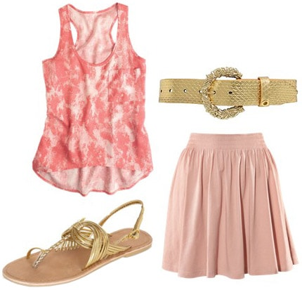 Outfit idea: How to wear a pink tank with a pink skirt and gold accessories