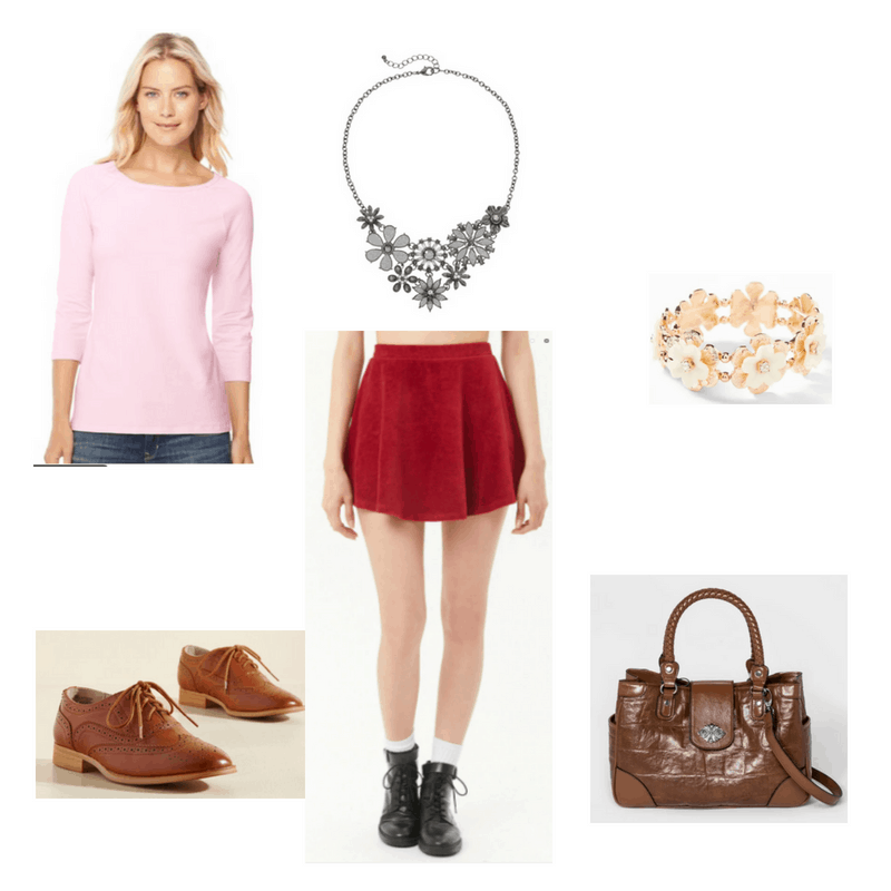 Outfit with pink tee, red skirt, flower necklace, flower bracelet, brown oxfords, and brown bag