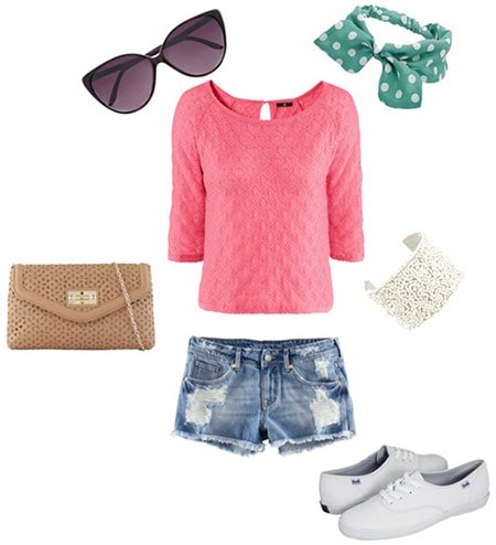 How to style a hot pink top with denim cutoffs, basic white sneakers, a chain strap bag, a polka dot headband, sunglasses and a cuff