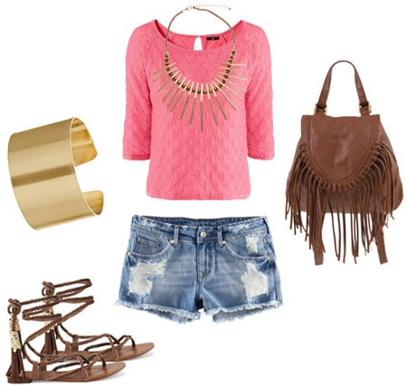 How to style a hot pink top with gladiator sandals, cutoff denim shorts, a gold cuff, spiky statement necklace and fringe bag