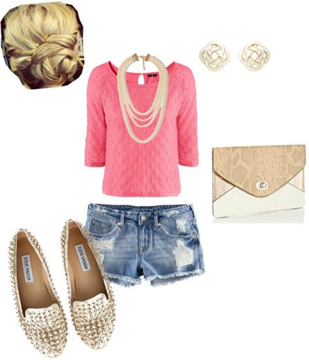 How to style a hot pink top with sparkly flats, denim cutoffs, a clutch, a statement necklace and earrings