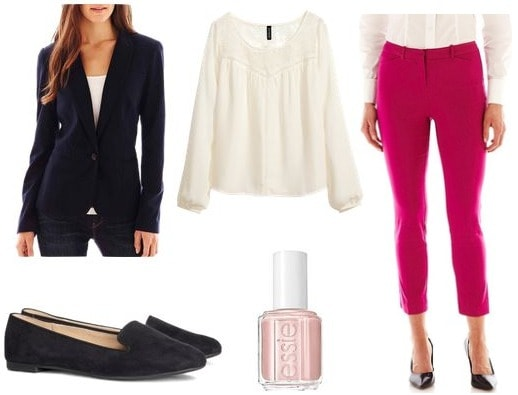 Pink trousers business casual outfit