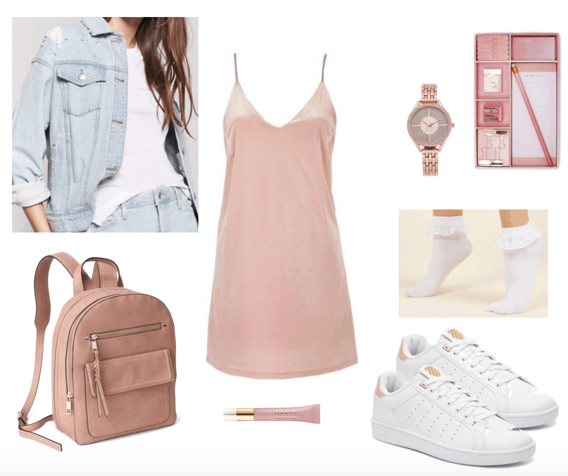 Velvet slip dress outfit for class: Pink velvet dress w/accents perfect for school including white sneakers, light wash jean jacket, pink backpack, white ruffle socks