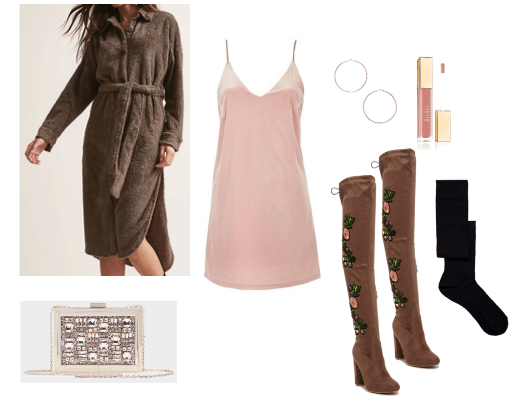 Velvet slip dress outfit idea: Pink velvet dress with brown accents including brown teddybear robe coat, brown embroidered over-the-knee boots, embellished clutch bag, pink lip gloss