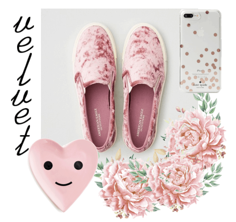 Pink velvet sneakers with pin, dish, and phone case