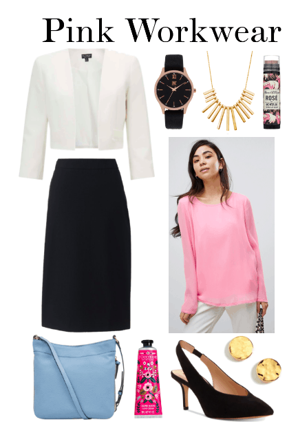 White blazer, pencil skirt, metallic watch, necklace, pink blouse, slingbacks, blue purse, gold earrings, hand cream, lip balm