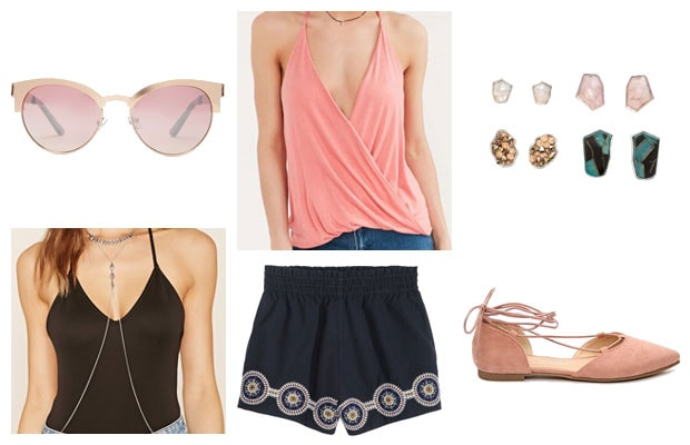Pink wrap tank bold summer outfit