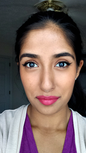New Year's makeup look with pink lips