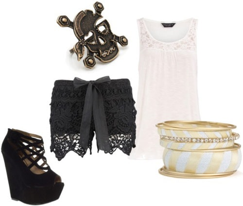 Pirate-inspired outfit 1: Lace shorts, flowy tank, striped bangles, wedges, skull ring