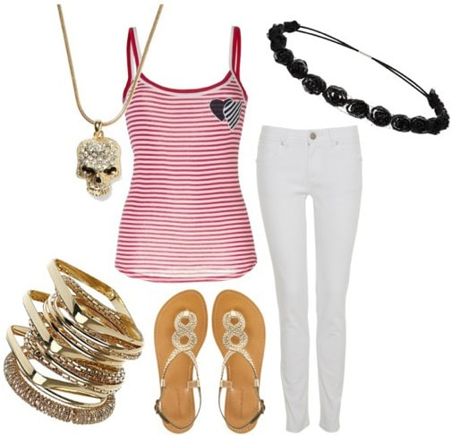 Pirate-inspired outfit 2: Red striped tank, white jeans, metallic sandals, skull necklace, gold bangles