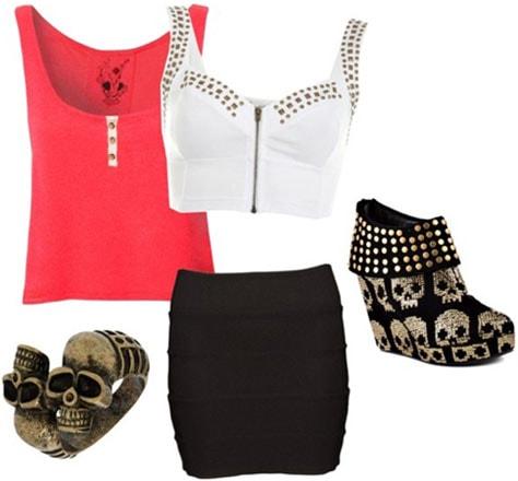 Pirate-inspired outfit 3: Black bandage skirt, studded tanks, skull booties, skull ring