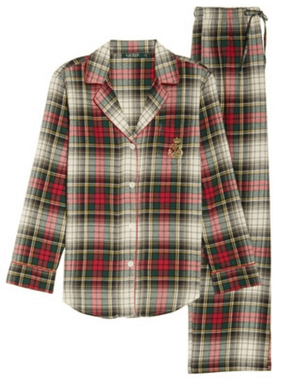 Ivory, red, green, and yellow plaid pajama set with long-sleeved shirt with red piping and Ralph Lauren crest on chest, and long bottoms with drawstring at waist