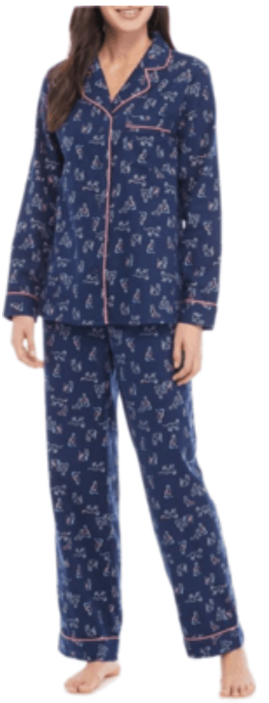 Navy blue cat-print flannel pajamas with bright pink piping, long-sleeved shirt with chest pocket and long bottoms