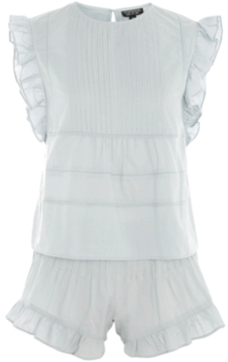 Pale seafoam-blue frilled and pintucked pajama set with short-sleeved top and short bottoms