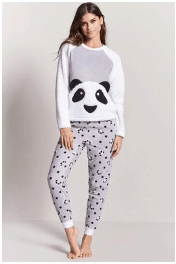 Gray, black, and white fleecy pajama set with long-sleeved top with front panda-shaped pocket, and long skinny-fit bottoms with ankle cuffs and panda and polka-dot print