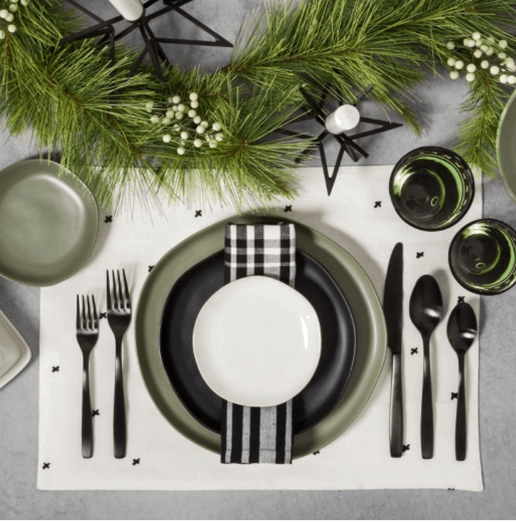 white and black cross place mat for dinning table