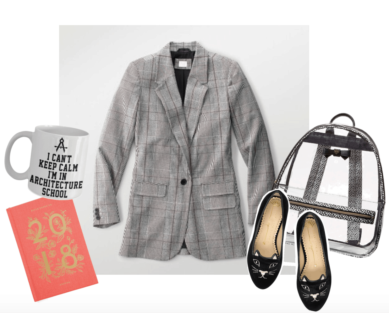 Grey plaid blazer surrounded by a coffee mug, planner, backpack, and kitty flats.