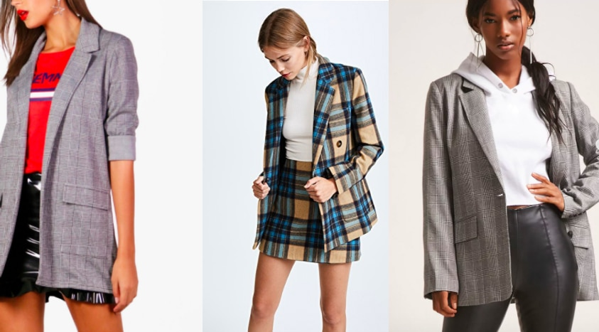 Plaid boyfriend blazer trend: traditional grey oversized blazer from Boohoo, mustard and blue boyfriend blazer from Shopbop, and a boxy grey blazer from Forever 21.