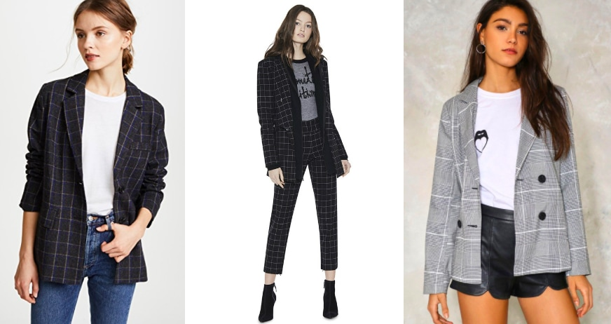 Plaid boyfriend blazer trend: dark oversized plaid boyfriend blazer from Shopbop Alice + Olivia long blazer with a hood, and a grey and white plaid Nasty Gal blazer.