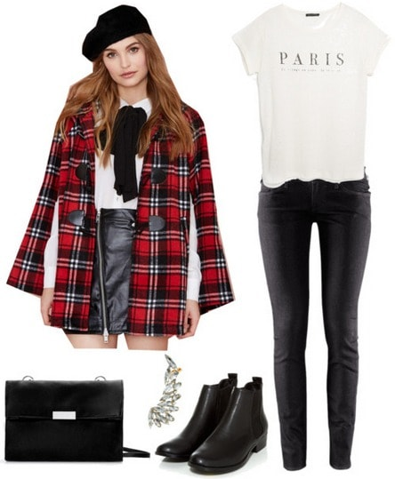 Plaid cape, black jeans, graphic tee