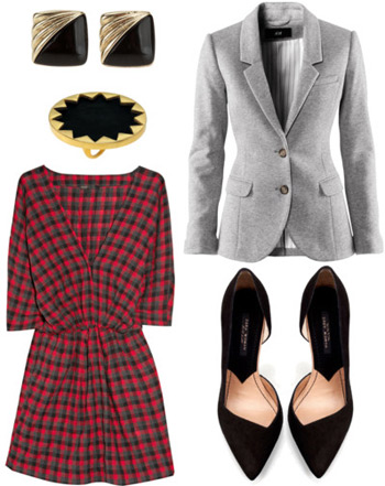 How to wear a red plaid dress with a blazer and pointy shoes