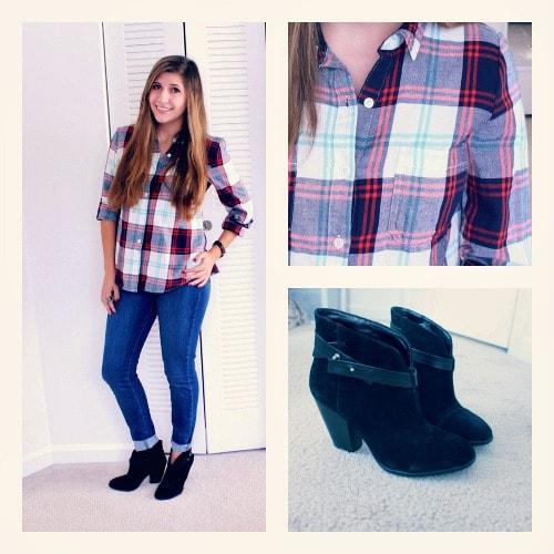 Plaid flannel jeans black booties