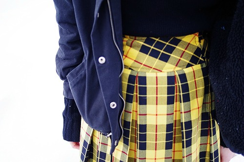 Plaid high waisted skirt at macalester college