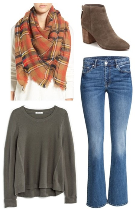 Plaid scarf bootcut jeans green sweater suede boots