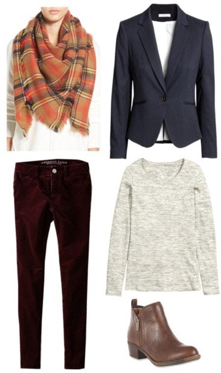 Plaid scarf red corduroy pants navy blazer gray tee brown boots