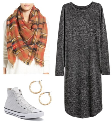 Gray tee dress plaid scarf white sneakers gold earrings