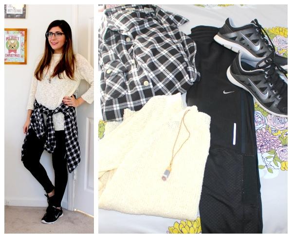 Plaid-Shirt-Around-Waist-Nike-Leggings-Cream-Sweater-Crystal-Necklace