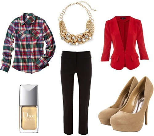 Outfit idea: Plaid shirt, blazer, skinny jeans, heels, statement necklace
