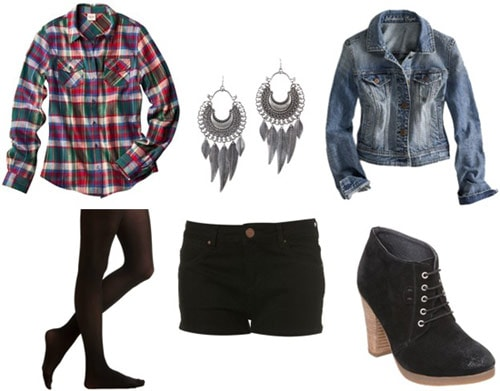 Outfit idea: Plaid shirt, shorts, tights, denim jacket, ankle booties