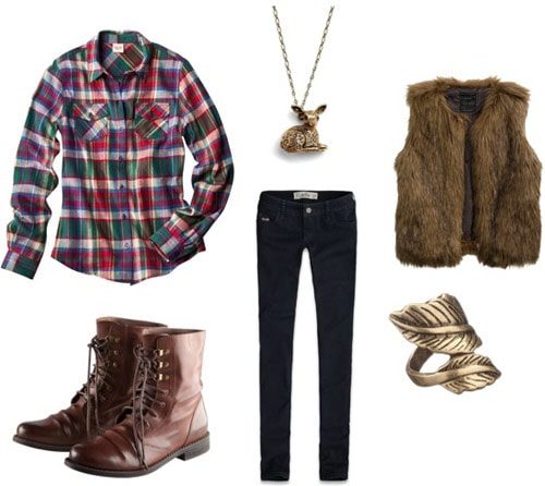 Outfit idea: Plaid shirt, fur vest, lace-up boots, skinny jeans, jewelry