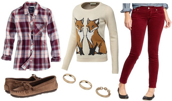 Plaid shirt, graphic sweater, cords, mocs
