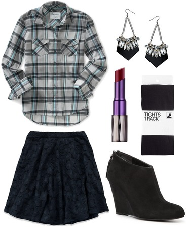 Plaid shirt, lace skirt, ankle booties, tights
