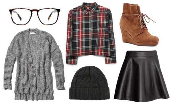 Plaid shirt leather skirt gray cardigan