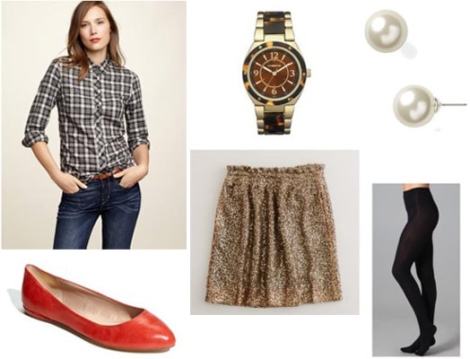 Plaid shirt outfit 1: Glitter skirt, tights, red leather flats, watch