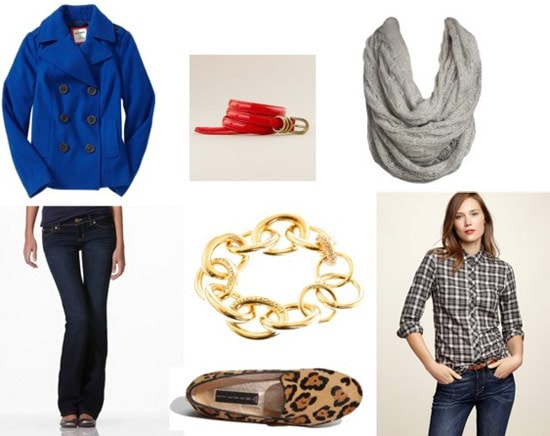 Plaid shirt outfit 3: Cobalt coat, dark wash jeans, leopard loafers, bright belt, infinity scarf