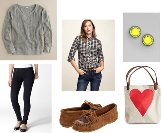 Plaid shirt outfit 4: Black skinny jeans, moccasins, sweatshirt, bright earrings
