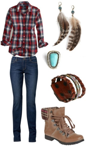 How to wear a plaid shirt with jeans and boots
