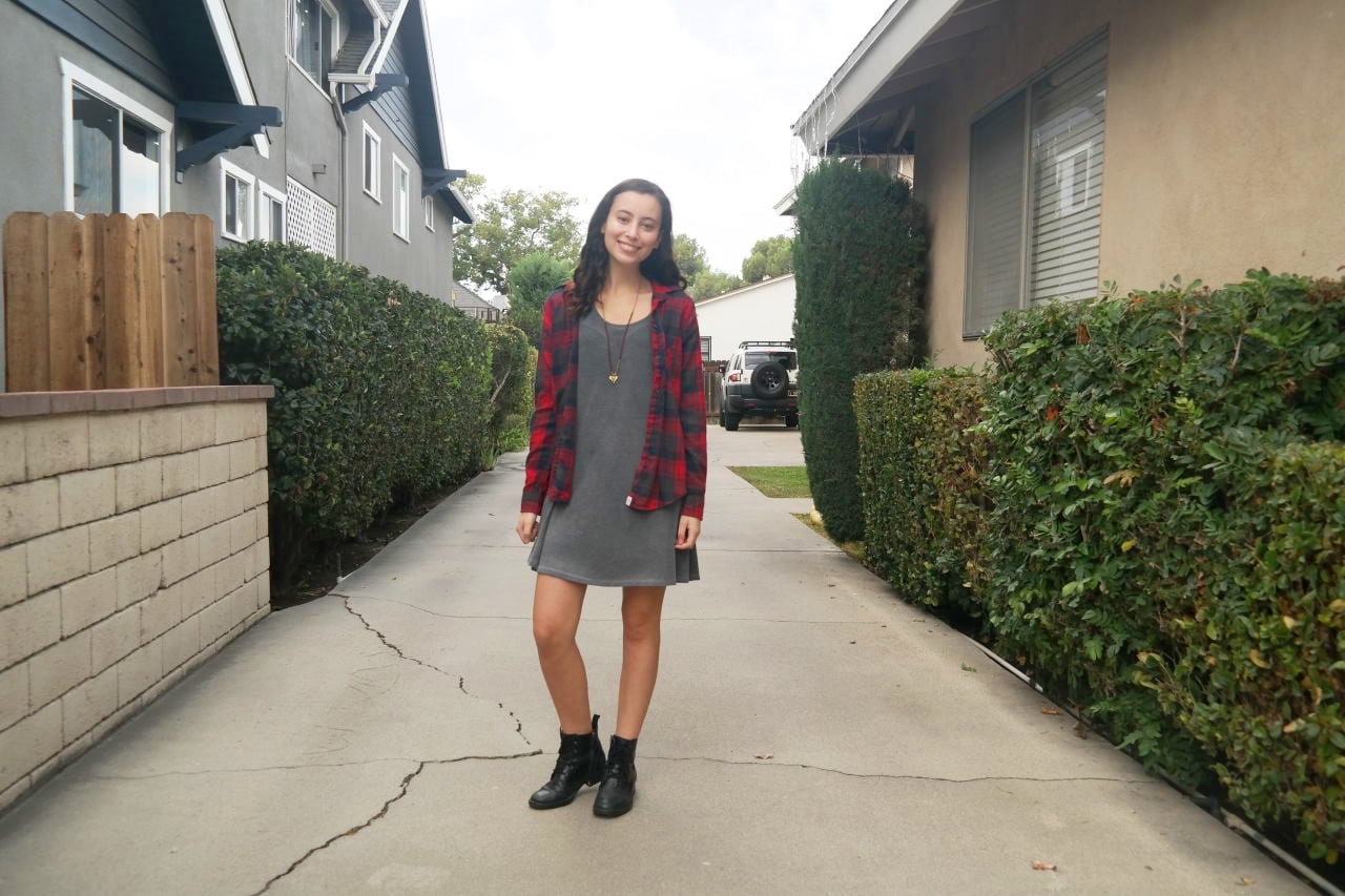 Warm weather fall and winter outfits: Plaid shirt over a t-shirt dress with boots